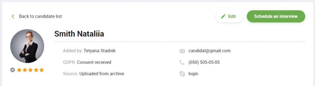 Edit candidate profile