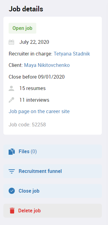Close job