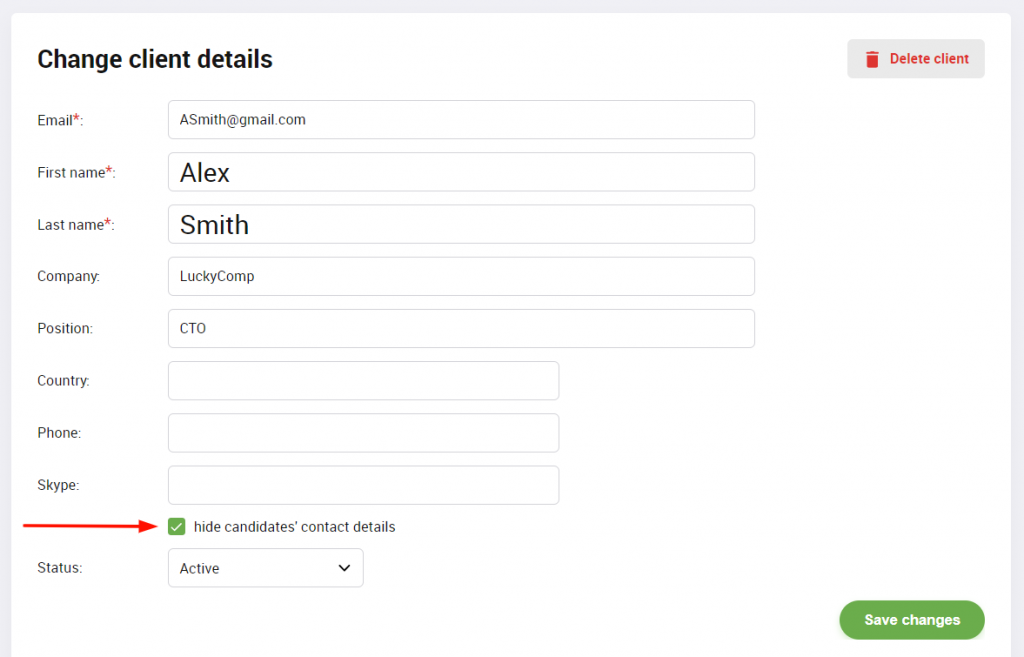 Hide candidates' contact details