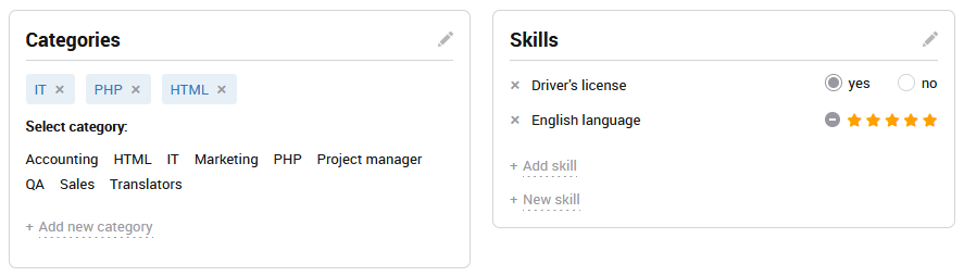 Skills and categories
